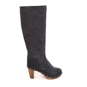 Anthro boho Sanita clog boots 38 leather&canvas